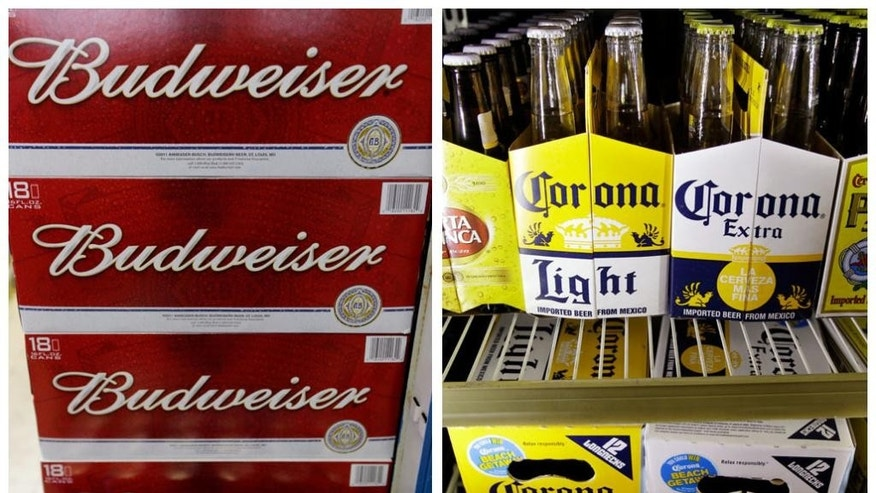 FILE - This combination of Associated Press undated file photos shows Budweiser beer in the aisles of Elite Beverages in Indianapolis, and Constellation Brands Corona beers displayed at a liquor store in Palo Alto, Calif. Brewer Anheuser-Busch InBev has increased its cash offer for SABMiller to 45 pounds ($58.98) per share after pressure from investors who had seen the value of the bid drop as the pound declined following Britain's vote to leave the European Union. (AP Photos/File)