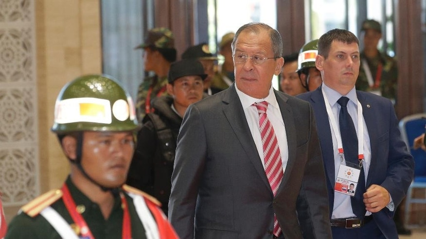 Russian Foreign Minister Sergey Lavrov arrives for the Association of Southeast Asian Nations (ASEAN) Foreign Ministers' Meeting in Vientiane, Laos, Monday, July 25, 2016. (AP Photo/Sakchai Lalit)