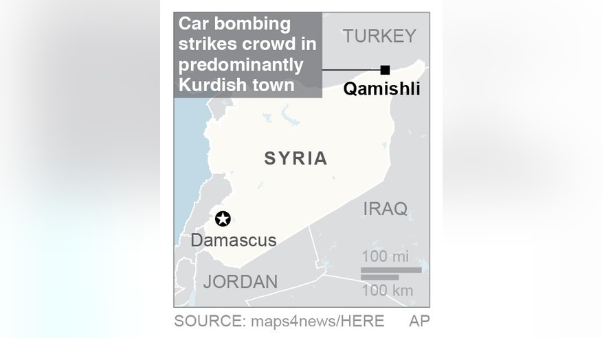 Map locates Qamishli, Syria; 1c x 2 inches; 46.5 mm x 50 mm;