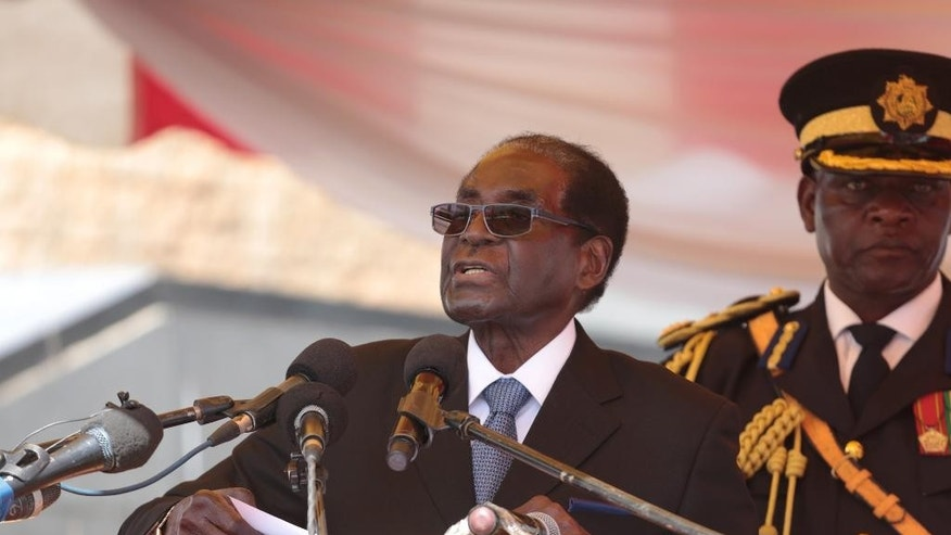Robert Mugabe speaking to supporters on July 19.