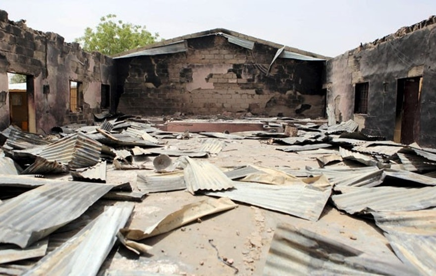 March 24, 2015: A church that residents say was burned by Boko Haram militants in Damasak. (REUTERS)