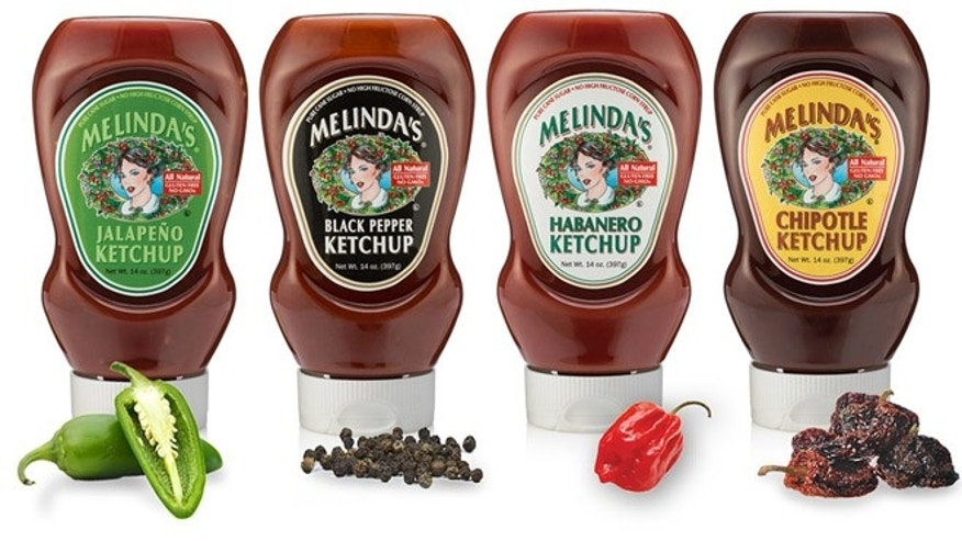 Melinda's ketchup line. (Photo: Courtesy Melinda's)