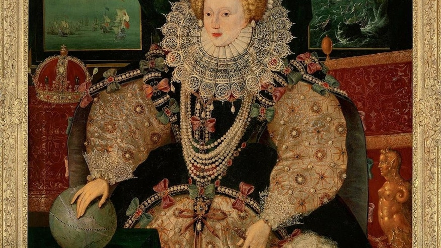 "This undated handout photo released by The Art Fund shows the Armada Portrait of Britain's Queen Elizabeth I. A rare 16th century portrait of Queen Elizabeth I will become public property after a donations appeal raised 10 million pounds ($13 million) to keep it in Britain. The ""Armada Portrait"" commemorates England's 1588 triumph over an invading Spanish armada. Behind her, the Spanish fleet is shown wrecked in a storm. The painting - one of three copies to survive by an unknown artist - was owned by descendants of sailor Francis Drake, who decided to sell it. (The Art Fund via AP)"