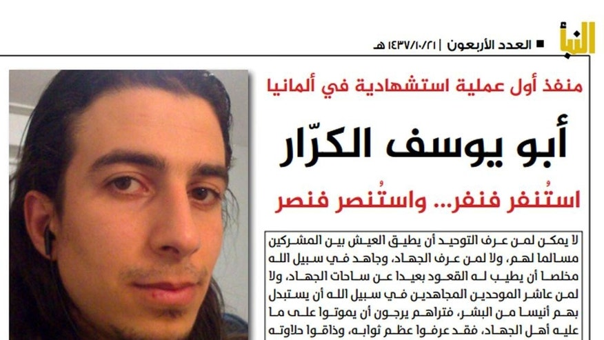 This undated photo from Al-Nabaa, an online magazine of the Islamic State group, shows Mohammad Daleel in an article published late Tuesday, July 26, 2016. The weekly magazine claimed Daleel, who went to Germany as an asylum-seeker, had fought both in Iraq and Syria with a branch of al-Qaida and the IS group. Al-Nabaa described how Daleel, a 27-year-old Syrian, blew himself up at a bar in the southern German town of Ansbach spent months planning the attack, once even hiding his home-made bomb in his room moments before a police raid. (Al-Nabaa, an online magazine of the Islamic State group, via AP)