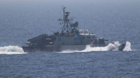 One of the five military vessels from Iran's Revolutionary Guard Corps that approached a U.S. warship hosting one of America's top generals on a day trip through the Strait of Hormuz is pictured in this July 11, 2016 handout photo.  U.S. Navy/Handout via REUTERS  ATTENTION EDITORS - THIS IMAGE WAS PROVIDED BY A THIRD PARTY. EDITORIAL USE ONLY - RTSHLRW
