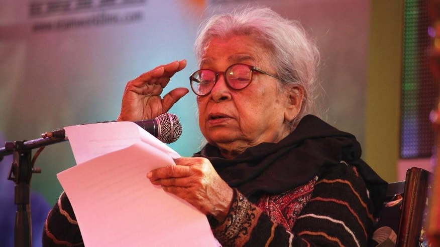 FILE – In this Jan. 24, 2013 file photo, Indian writer Mahasweta Devi delivers the keynote address during the opening of India's Jaipur Literature Festival in Jaipur, India. Devi, a well-known Indian writer and social activist, who used her writing to give voice to the oppressed poor tribal and forest dwellers died Thursday, July 28, 2016 at a Kolkata hospital. She was 90. (AP Photo/Deepak Sharma, File)