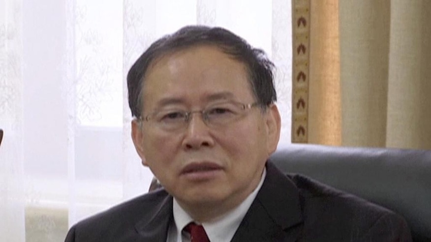 "In this image made from video, Han Song Ryol, director-general of the U.S. affairs department at North Korea's Foreign Ministry, talks during an interview with the Associated Press in Pyongyang, North Korea, Thursday, July 28, 2016. Han said that Washington ""crossed the red line"" and effectively declared war by putting leader Kim Jung Un on its list of sanctioned individuals and said a vicious showdown could erupt if the U.S. and South Korea hold annual war games as planned next month. (AP Photo)"