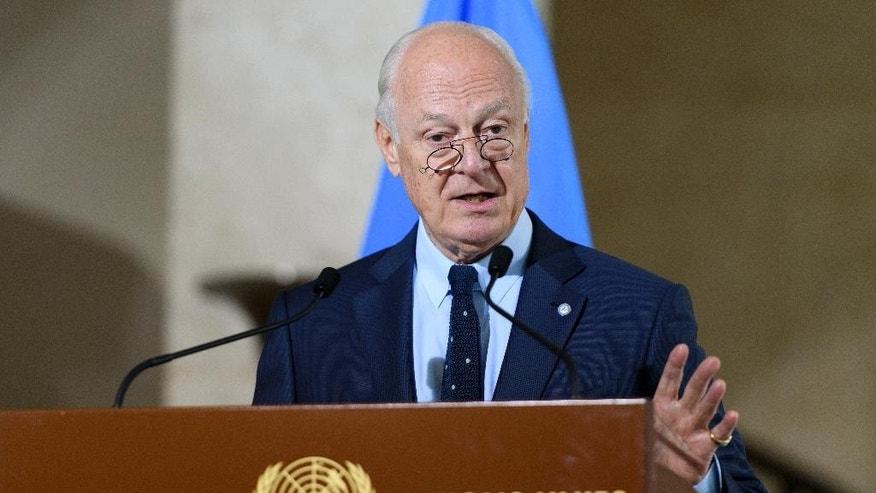 Staffan de Mistura, UN Special Envoy of the Secretary-General for Syria, speaks about the International Syria Support Group's Humanitarian Access Task Force, at the European headquarters of the United Nations, in Geneva, Switzerland, Thursday, July 28, 2016. (Martial Trezzini/Keystone via AP)
