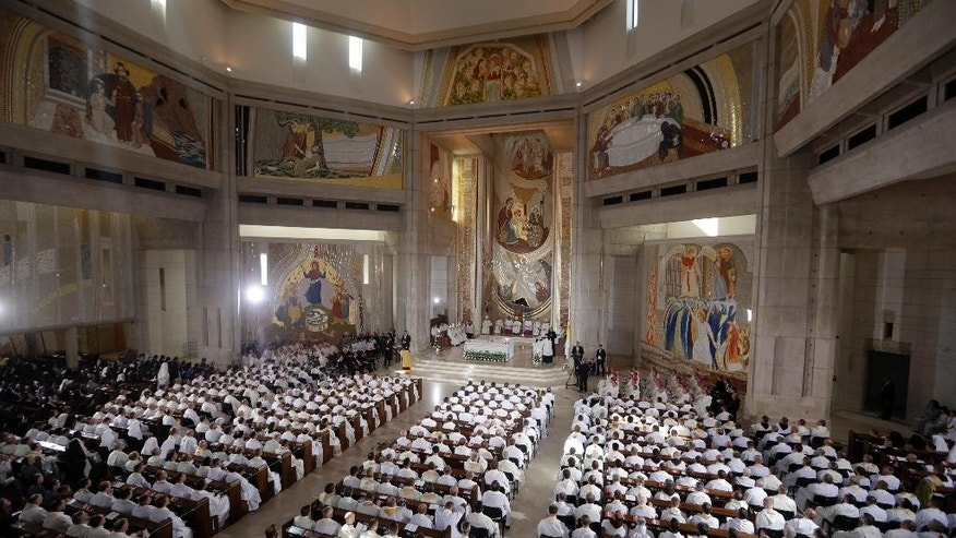 Pope Francis celebrates a Mass at the Saint John Paul II Sanctuary in Krakow, Poland, Saturday, July 30, 2016.  (AP Photo/Gregorio Borgia)