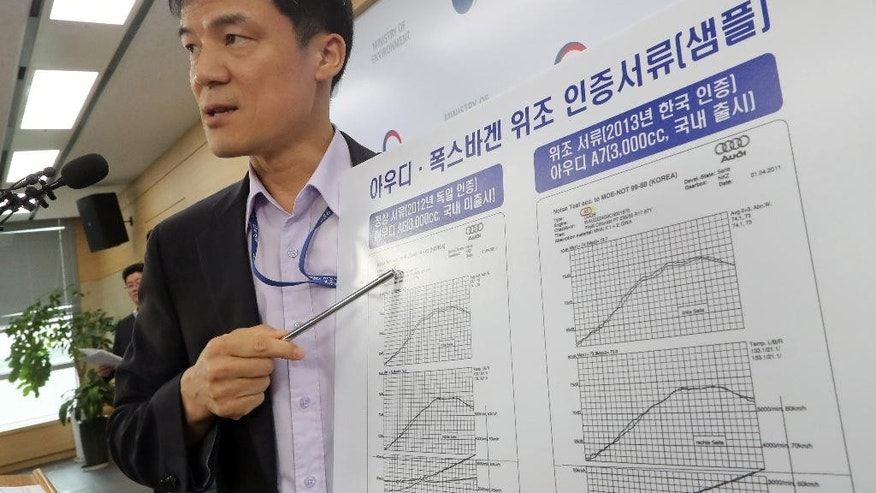 "South Korean Environmental Ministry official Hong Dong-kon shows samples of Audi and Volkswagen motor vehicles, right, forged certification documents during a press conference at the government complex in Sejong, South Korea, Tuesday, Aug. 2, 2016. South Korea has fined Volkswagen 17.8 billion won ($16 million) and suspended sales of 80 VW models, alleging the German carmaker fabricated documents on emissions or noise level tests. The letters read ""Audi and Volkswagen forged certification documents."" (Choe Yong-soo/Yonhap via AP)"