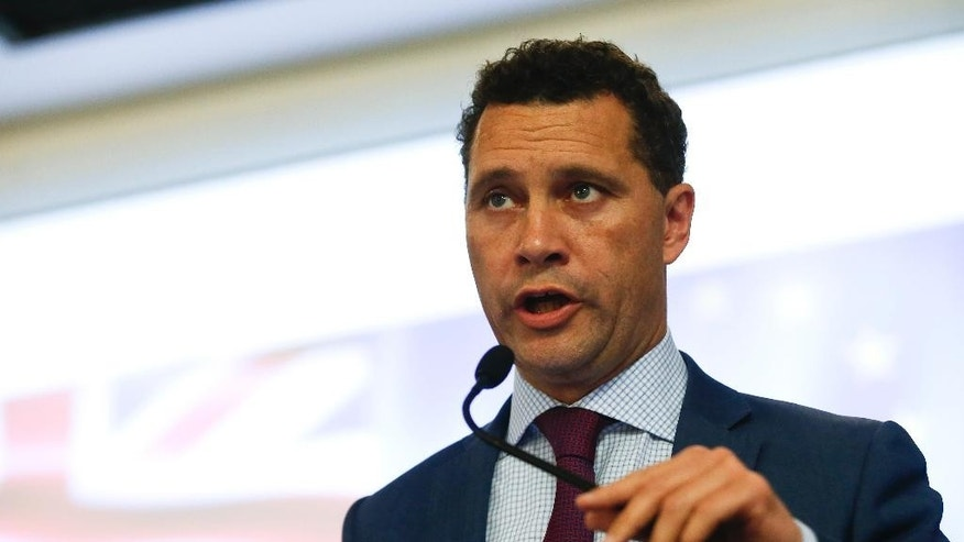 In this photo taken on Wednesday, June 22, 2016, UK Independence Party's Steven Woolfe, a Member of the European Parliament, speaks at the final press conference before the referendum on Britain's vote to leave or remain in the EU, in London. Six candidates are competing to lead Britain's right-wing U.K. Independence Party, which was a key force in the country's vote to leave the European Union. But the party says Steven Woolfe, an ally of former leader Nigel Farage and the favorite to win the contest, has been excluded from the race because he missed the application deadline by 17 minutes. (AP Photo/Alastair Grant)
