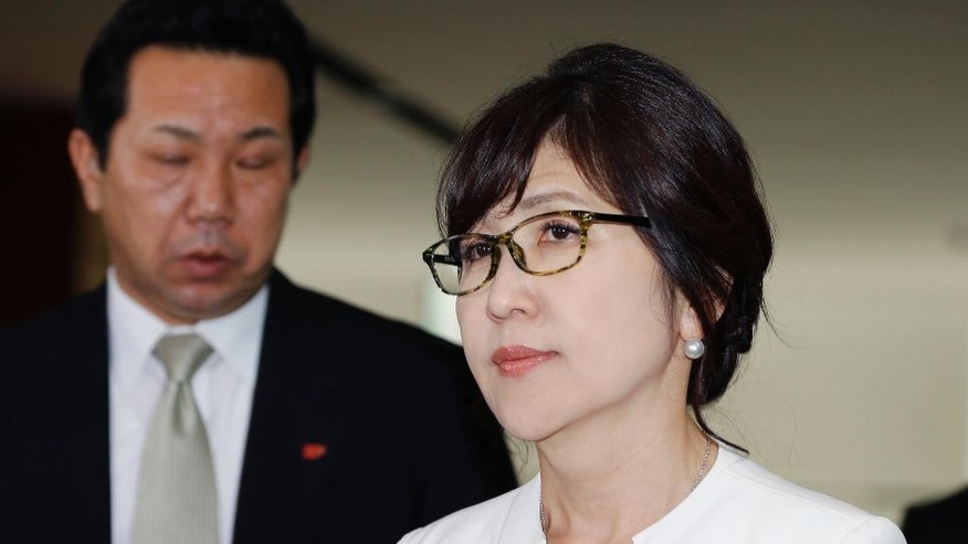 Japan's newly-appointed Defense Minister Tomomi Inada arrives at the prime minister's official residence in Tokyo, Wednesday, Aug. 3, 2016. Prime Minister Shinzo Abe changed more than half of the 19-member Cabinet on Wednesday in a bid to support his economic, security and other policy goals. (AP Photo/Shizuo Kambayashi)