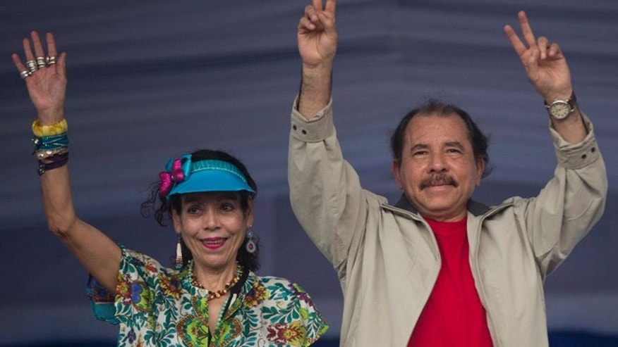 Nicaragua's President Daniel Ortega and first lady Rosario Murillo in a 2015 file photo.