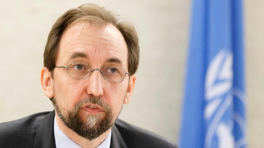 FILE - In this June 13, 2016 file photo UN High Commissioner for Human Rights Zeid Ra'ad al-Hussein, of Jordan, delivers a speech during the opening of the 32nd session of the Human Rights Council, at the European headquarters of the United Nations in Geneva, Switzerland. Zeid said Thursday, Aug. 4, 2016 that officials have documented 217 cases of sexual violence in South Sudan's capital during last month's outbreak of fighting, most of them committed by government security forces. (Salvatore Di Nolfi/Keystone via AP, file)