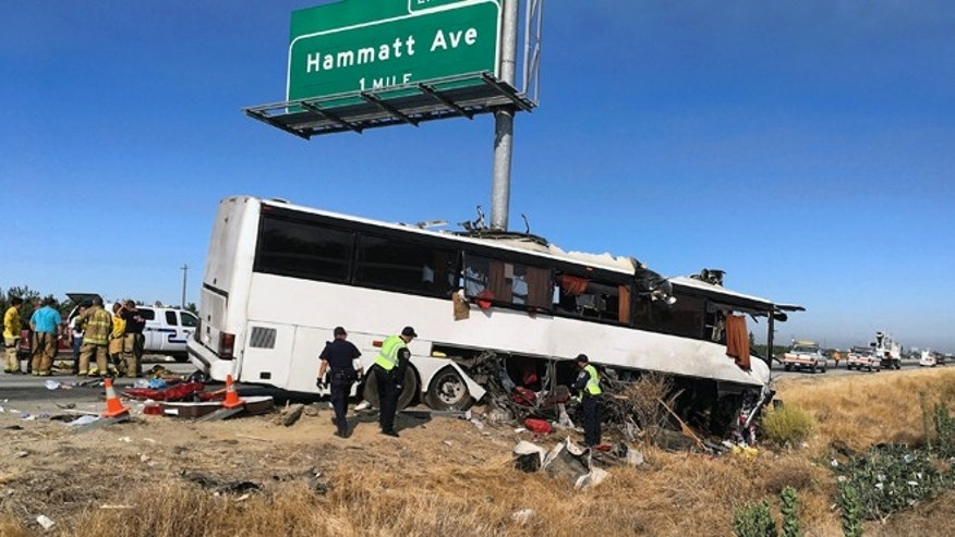 Scene of a charter bus crash on northbound Highway 99 between Atwater and Livingston, Calif., Tuesday, Aug. 2, 2016.
