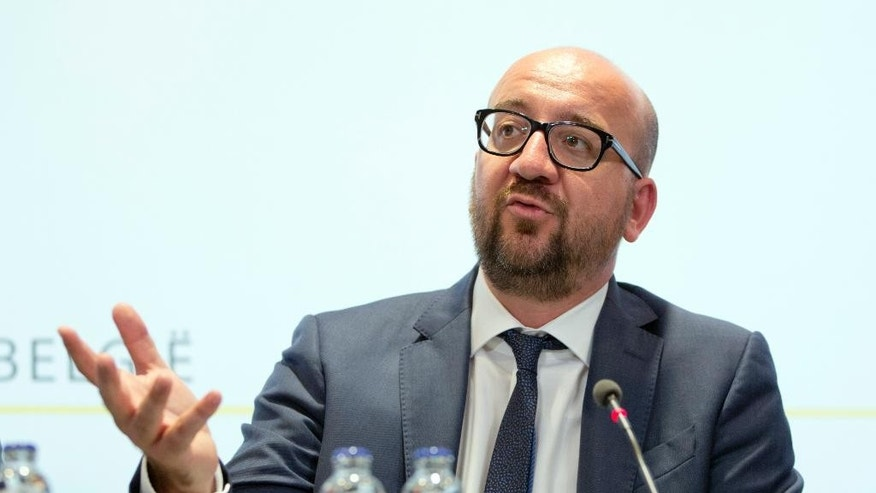 Belgian Prime Minister Charles Michel speaks during a media conference at the prime ministers office in Brussels on Sunday, Aug. 7, 2016. A man attacked two police officers with a machete near the police headquarters in Charleroi, Belgium on Saturday, Aug. 6, 2016 before being apprehended. (AP Photo/Virginia Mayo)