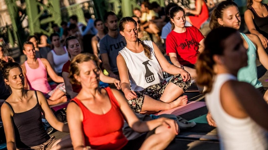 People perform yoga exercises on Freedom Bridge in downtown Budapest, Hungary, Tuesday, August 9, 2016. Yoga instructors held classes for over 600 practitioners on Budapest's Freedom Bridge, which is closed for renovations, in an effort to popularize the discipline and practice it in a unique location. (Zoltan Balogh/MTI via AP)