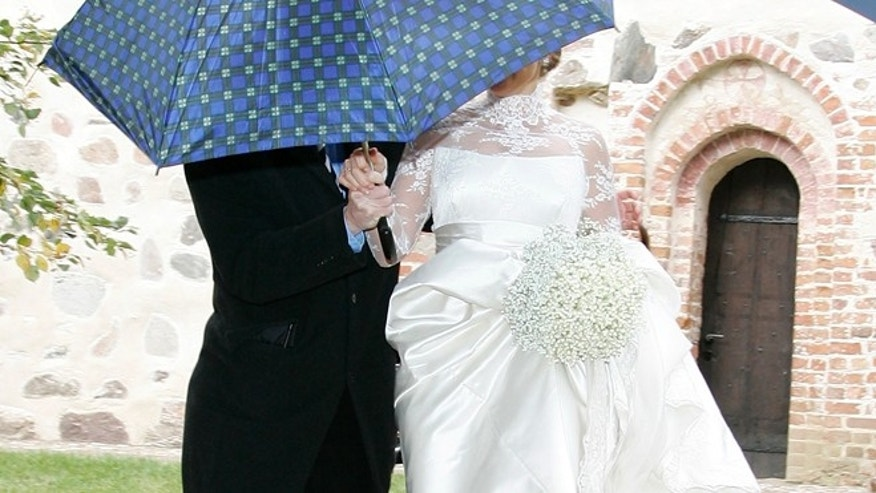RAMBOW, GERMANY - OCTOBER 03:  (EDITORS NOTE: Entertainment Online Subscriptions GLR Included)  Barbara Schoeneberger leaves her church wedding with Maximilian von Schierstaedt at the church of Rambow on October 3, 2009 in Rambow, Germany.  (Photo by Getty Images)