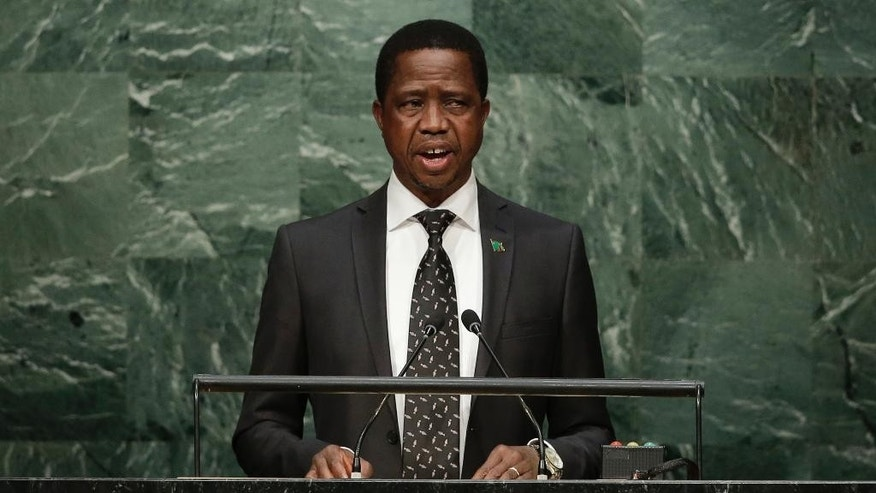 FILE - In this Sept. 2015, file photo Zambia's President Edgar Lungu speaks during the 70th session of the United Nations General Assembly at U.N. headquarters. Zambia votes in a presidential election Thursday Aug. 11, 2016, amid widespread concerns about possible political violence as President Lungu faces off against businessman contender Hakainde Hichilema.  (AP Photo/Frank Franklin II, FILE)