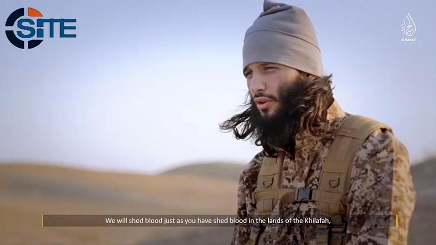 Foued Mohammed-Aggad, a Frenchman who was among the Islamic State fighters to attack Paris on Nov. 13, 2015, appears in an undated propaganda video. He had been among a group of 10 men from Strasbourg who joined the extremists in 2013, most of them acknowledging they knew little about Islamic Shariah law, according to documents obtained by The Associated Press. (militant video via AP)