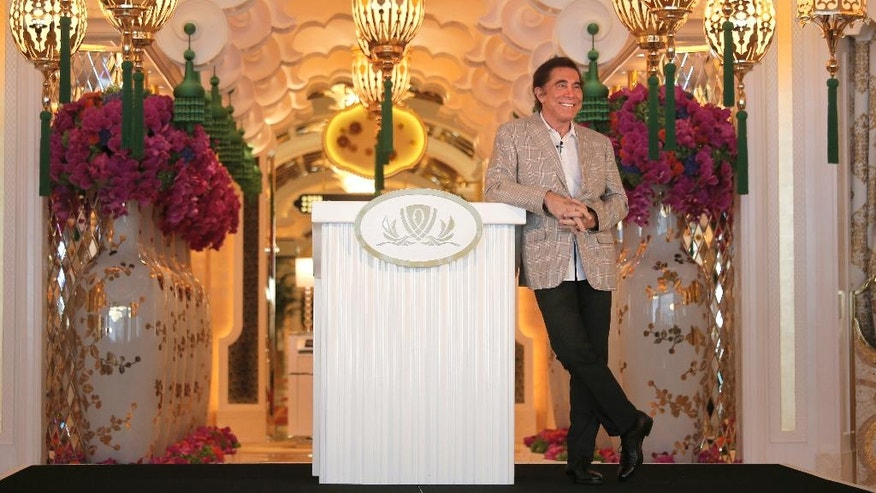 Steve Wynn, CEO of Wynn Palace smiles during a press conference in Macau, China, Wednesday, Aug. 17, 2016. The U.S. casino mogul will be hoping luck is on his side as he prepares to launch his Wynn Palace project in the Asian gambling hub, where growth is downshifting into a new phase after years of turbocharged expansion. (AP Photo/Vincent Yu)