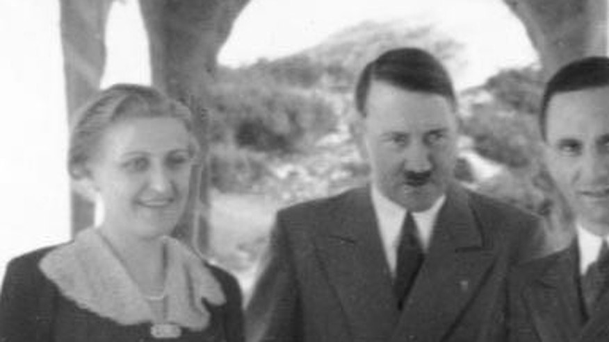 Magda Goebbels, left, Adolf Hitler and Joseph Goebbels in 1938.
