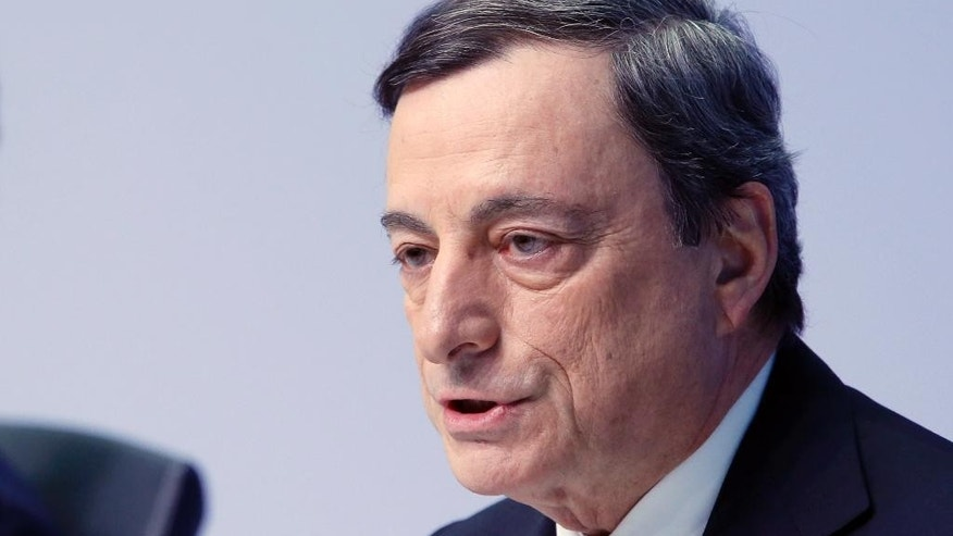 "FILE - This is a Thursday, March 10, 2016  file photo of President of European Central Bank Mario Draghi as he speaks during a press conference following a meeting of the governing council in Frankfurt, Germany. Officials at the European Central Bank saw the initial impact from Britain's vote to leave the EU as ""geographically confined"" to that country despite much uncertainty about whether it would hurt the global economy in the future. That is the view contained in the written account of the bank's July 21 rate-setting meeting, released Thursday Aug. 18, 2016.  (AP Photo/Michael Probst, File)"