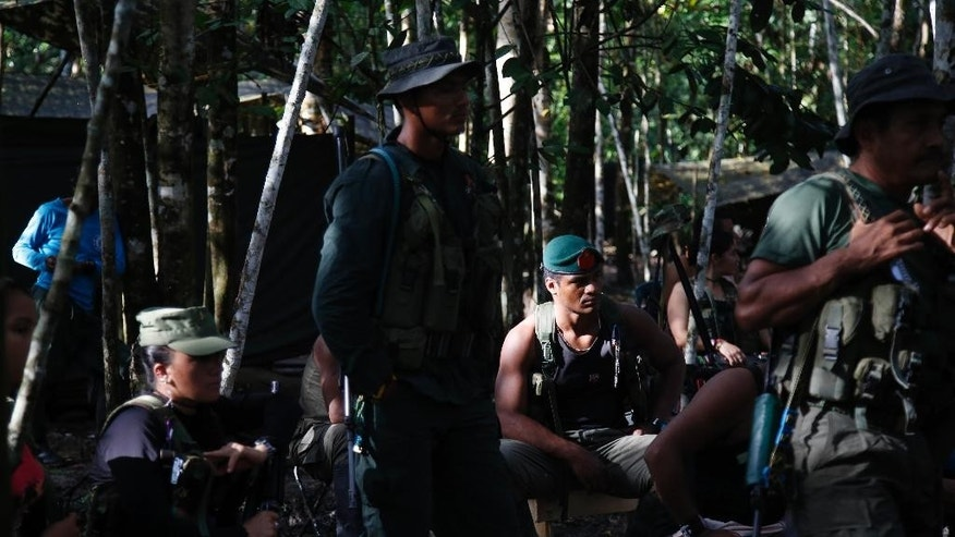 In this Wednesday, Aug. 17, 2016 photo, rebels of the Revolutionary Armed Forces of Colombia southern bloc, FARC, listen to a lecture on the peace process in the southern jungles of Putumayo, Colombia. Martin Corena, the acting commander of the FARC's southern bloc, is calling on President Barack Obama to free a guerrilla leader jailed for more than a decade in the U.S. Corena said Ricardo Palmera's 60-year sentence in connection to the FARC's holding captive of three American defense contracts was incompatible with Obama's support for a peace deal. (AP Photo/Fernando Vergara)