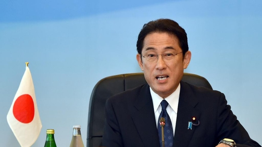 Japanese Foreign Minister Fumio Kishida makes opening remarks during the trilateral meeting in Tokyo, Wednesday, Aug. 24, 2016. The foreign ministers of China, Japan and South Korea have criticized North Korea's fresh missile launch just hours earlier in the day. (Katsumi Kasahara/Pool Photo via AP)