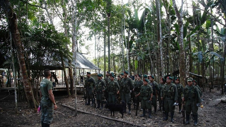 In this Aug. 11, 2016 photo, rebels of the 48th Front of the Revolutionary Armed Forces of Colombia stand in formation in the southern jungles of Putumayo, Colombia.  With a cease-fire with the Colombian government in place, gone are the days when they had to change camp every few days for fear of being stunned in their sleep by bombs falling from the skies. (AP Photo/Fernando Vergara)
