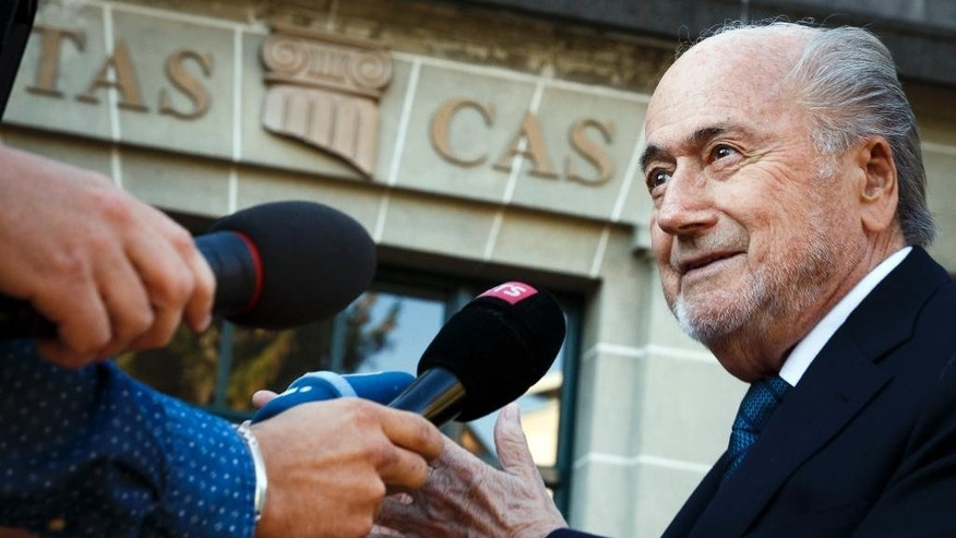 Former FIFA President Sepp Blatter arrives at the International Court of Arbitration for Sport, CAS, for his appeal on a six-year ban on football related activities in Lausanne, Switzerland, on Thursday Aug. 25, 2016.  (Valentin Flauraud/Keystone via AP)
