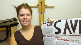 CORRECTS PHOTO CREDIT TO JO. L. KEENER  In this May 30, 2013, photo, Kayla Mueller is shown after speaking to a group in Prescott, Ariz. A statement that appeared on a militant website commonly used by the Islamic State group claimed that Mueller was killed in a Jordanian airstrike on Friday, Feb. 6, 2015, on the outskirts of the northern Syrian city of Raqqa, the militant group's main stronghold. The IS statement could not be independently verified. (AP Photo/The Daily Courier, Jo. L. Keener ) MANDATORY CREDIT