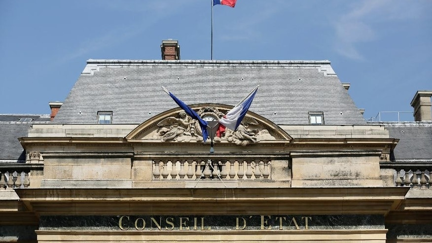A view of the Conseil d'Etat, France's top administrative court, in Paris, Friday, Aug. 26, 2016. The court has overturned a town burkini ban amid shock and anger worldwide after some Muslim women were ordered to remove body-concealing garments on French Riviera beaches. (AP Photo/Thomas Padilla)