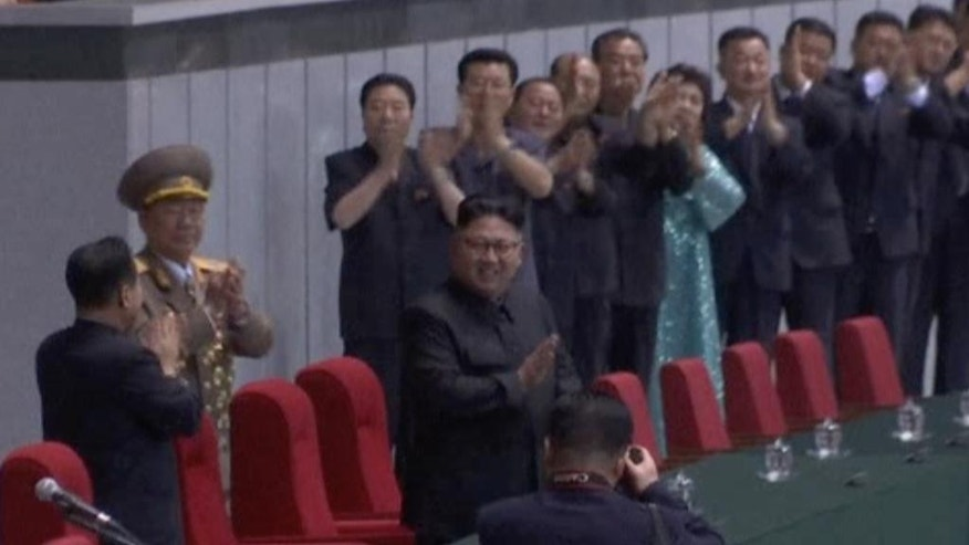 In this image made from video, North Korean leader Kim Jong Un arrives during a celebration of the gathering of the country's main youth league at May Day Stadium in Pyongyang, North Korea, Sunday, Aug. 28, 2016. The Kim Il Sung Socialist Youth League plays a major part in North Korea's social system, with young people agedf 14 to 30 are expected to join and take part in activities ranging from study sessions to helping out in major construction projects. (AP Photo)