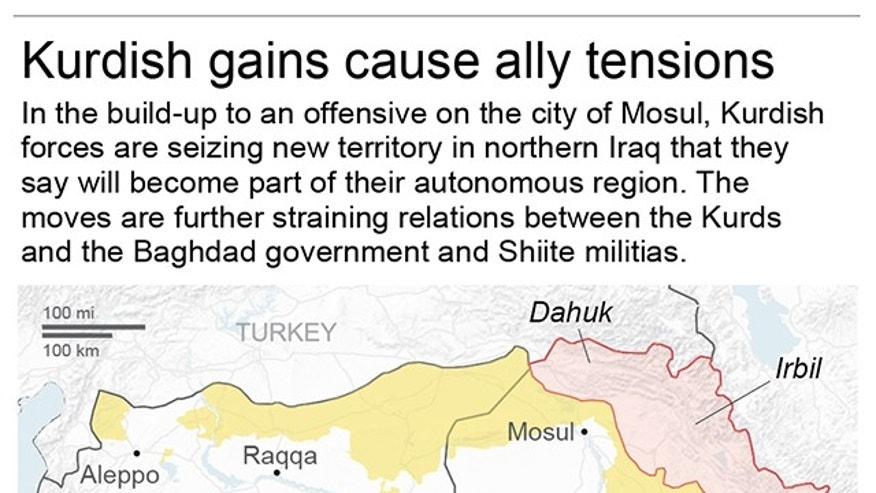 Map details areas under Kurdish control in northern Iraq and Syria as the battle for Mosul, Iraq draws closer.; 2c x 3 inches; 96.3 mm x 76 mm;
