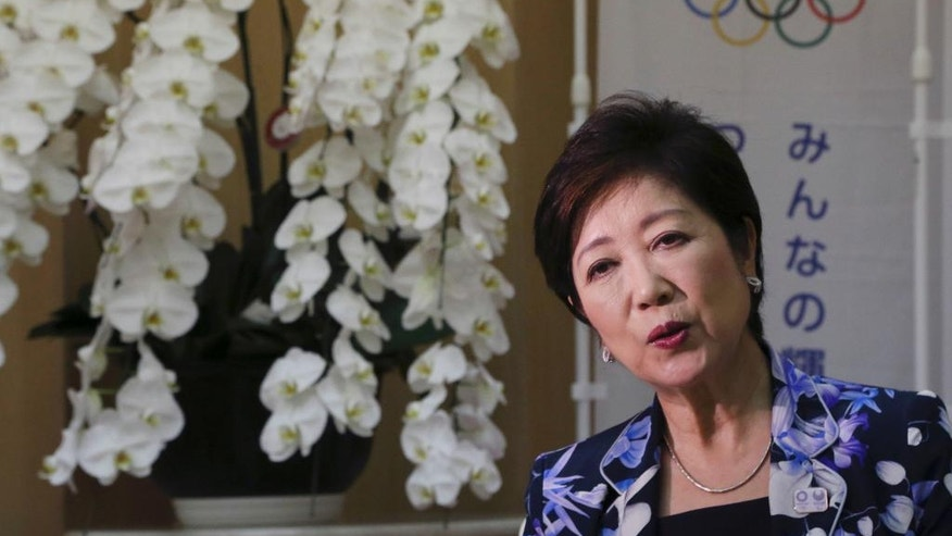 Tokyo Governor Yuriko Koike speaks during an interview with The Associated Press at her office in Tokyo, Monday, Aug. 29, 2016. Tokyo's first female leader says she will use her platform to host a cost-efficient and environmentally friendly 2020 Olympics and push a women's rights agenda that she hopes will be a model for Japan's central government. (AP Photo/Koji Sasahara)
