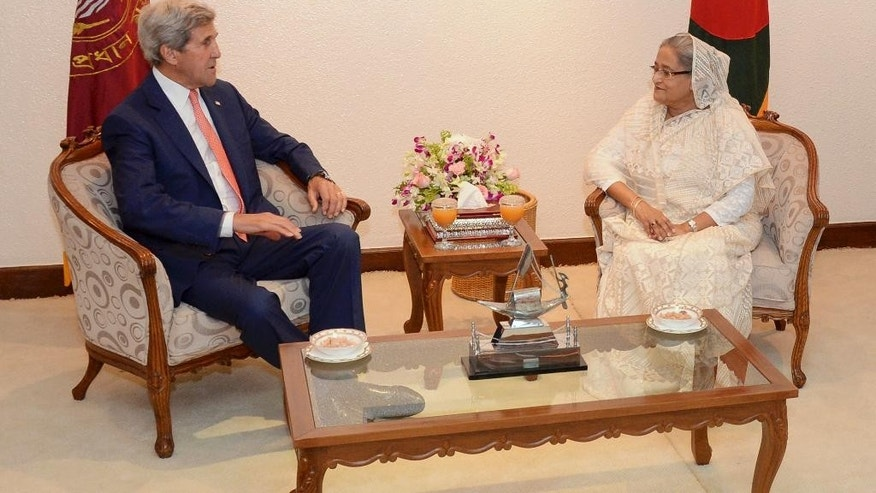 U.S. Secretary of State John Kerry, left, meets with Bangladesh Prime Minister Sheikh Hasina at the Prime Minister's office in Dhaka, Bangladesh, Monday, Aug. 29, 2016. Kerry called Monday for Bangladesh to step up efforts to fight extremist violence and protect and promote human rights amid increasing concern about terrorism in the South Asian nation in the wake of a series of militant attacks. (AP Photo)