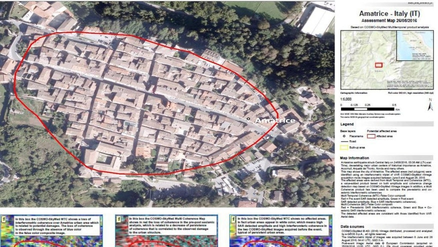 A satellite image showing the town of Amatrice before Wednesday's earthquake, top, and computer generated images taken before and after the quake, bottom, are made available Monday, Aug. 29, 2016 by the Italian Space Agency. The blue computer generated image at bottom right shows a normal situation in Amatrice before the quake, the change of color in the image at left shows that there has been some damage, and the red computer generated image at center shows the area with the most damage.  (Italian Space Agency via AP)