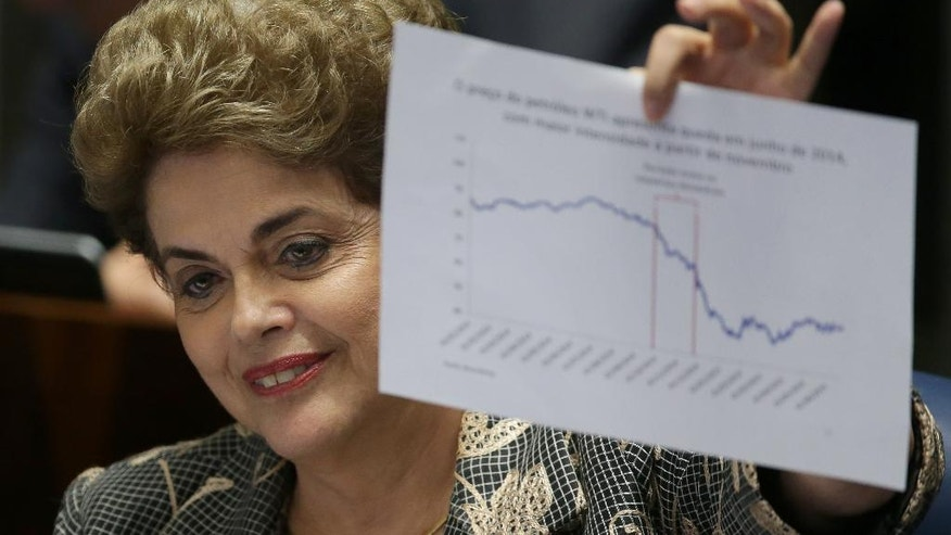 "Brazil's suspended President Dilma Rousseff holds up a chart as she speaks at her own impeachment trial, in Brasilia, Brazil, Monday, Aug. 29, 2016. Fighting to save her job, Rousseff told senators on Monday that the allegations against her have no merit. ""I know I will be judged, but my conscience is clear. I did not commit a crime,"" she told senators. Rousseff's address comes on the fourth day of the trial. (AP Photo/Eraldo Peres)"