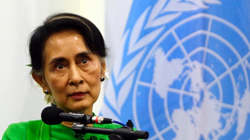 Myanmar Foreign Minister Aung San Suu Kyi, listens during a press conference at the Foreign Ministry office August, 30,2016, in Nay Pyi Taw, Myanmar. (AP Photo/Aung Shine Oo)