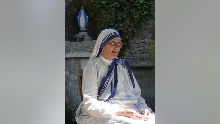 "Mother Superior of the Missionaries of Charity Sister Prema, speaks to the Associated Press, in Rome, Tuesday, Aug. 23, 2016. When Pope Francis canonizes Mother Teresa on Sunday, Sept. 4, 2016, he'll be honoring a nun who won admirers around the world and a Nobel Peace Prize for her joy-filled dedication to the ""poorest of the poor."" (AP Photo/Giulia Sabella)"