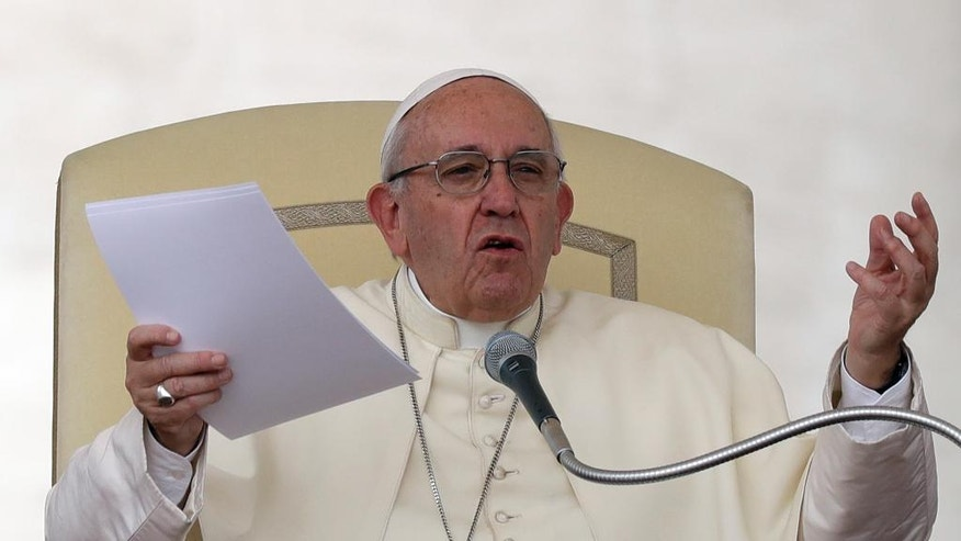 Pope Francis delivers his message during his weekly general audience, in St. Peter's Square, at the Vatican, Wednesday, Aug. 31, 2016. (AP Photo/Andrew Medichini)