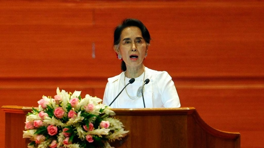 Myanmar's Foreign Minister Aung San Suu Kyi delivers an opening speech during the Union Peace Conference-21st Century Panglong at the Myanmar International Convention Centre, Wednesday, Aug. 31, 2016, in Naypyitaw, Myanmar. (AP Photo/Aung Shine Oo)