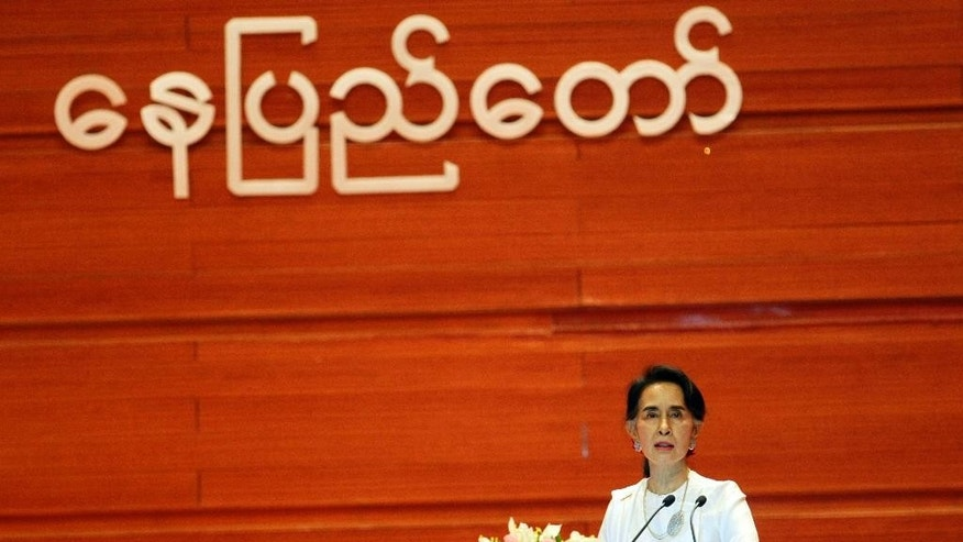 Myanmar's Foreign Minister Aung San Suu Kyi delivers an opening speech during the Union Peace Conference-21st Century Panglong at the Myanmar International Convention Centre, Wednesday Aug. 31, 2016, in Naypyitaw, Myanmar. (AP Photo/Aung Shine Oo)