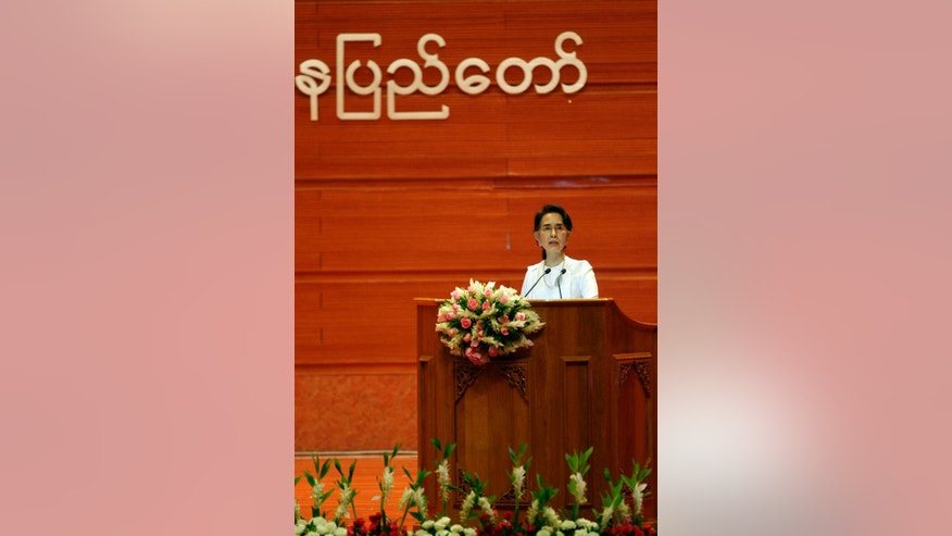 Myanmar's Foreign Minister Aung San Suu Kyi delivers an opening speech during the Union Peace Conference-21st Century Panglong, at the Myanmar International Convention Centre, Wednesday, Aug. 31, 2016, in Naypyitaw, Myanmar. (AP Photo/Aung Shine Oo)