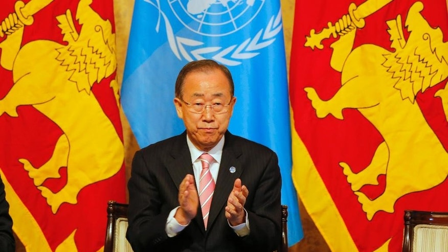 U.N. Secretary-General Ban Ki-moon applauds before delivering his speech on sustainable development to civil society partners during his visit in Colombo, Sri Lanka, Friday, Sept. 2, 2016. (AP Photo/Eranga Jayawardena)