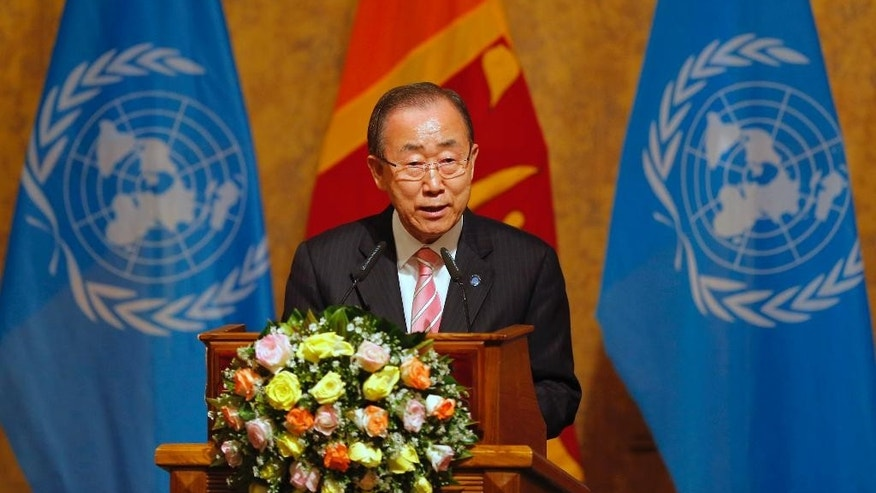 U.N. Secretary General Ban Ki-moon delivers a speech on Sustainable Development to civil society partners during his visit in Colombo, Sri Lanka, Friday, Sept. 2, 2016. (AP Photo/Eranga Jayawardena)
