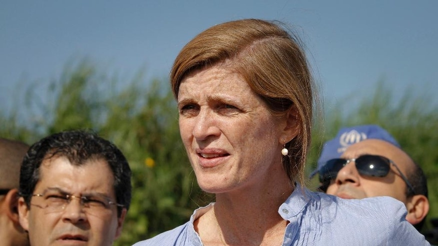 U.S. Ambassador to the United Nations Samantha Power speaks to the media in the capital Juba, South Sudan, Saturday, Sept. 3, 2016. Samantha Power called Saturday for an independent commission to take testimony from rape victims of a rampage by South Sudanese soldiers at a hotel compound popular with foreigners in July. (AP Photo/Justin Lynch)