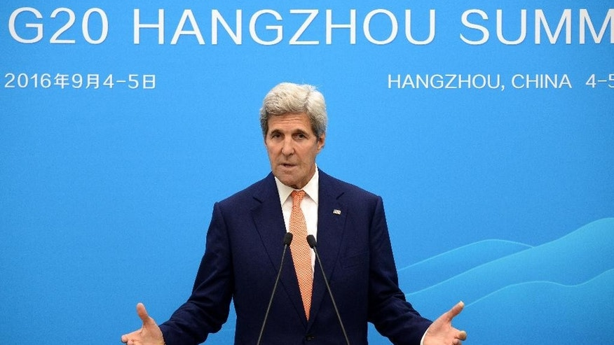 U.S. Secretary of State John Kerry speaks at a press conference in Hangzhou during the G20 Leaders Summit Sunday, Sept. 4, 2016. (Wang Zhao/Pool Photo via AP)