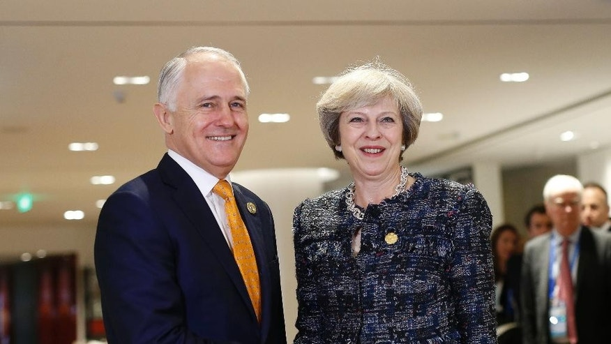British Prime Minister Theresa May, right, meets Australian Prime Minister Malcolm Turnbull during their bilateral meeting on the sidelines of the G-20 economic summit in Hangzhou, Zhejiang Province, China Monday, Sept. 5, 2016. (Aly Song/Pool Photo via AP)